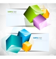 two banners with cube vector image vector image