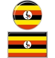 Ugandan round and square icon flag vector image