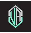 va logo monogram with hexagon shape and outline vector image vector image