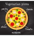 vegeterian pizza vector image vector image