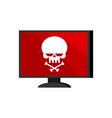 virus in computer skull on monitor cyber attack vector image vector image