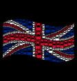 waving great britain flag pattern of liquid bottle vector image