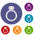 wedding ring icons set vector image vector image