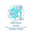 well caring nurses concept icon vector image vector image