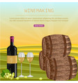 wine card with barrels and bottle vineyard vector image vector image