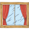 Wooden Window with Red Curtain vector image vector image