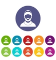 Bearded man avatar set icons vector image