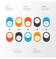 animal icons set collection of diver moth rat vector image