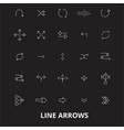 arrows line editable line icons set on vector image