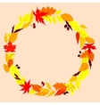 Autumn wreath with leaves acorns and rowanberry vector image vector image