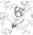 Black and white seamless pattern with flowers-03 vector image