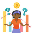 black woman in stress because of the market crisis vector image vector image