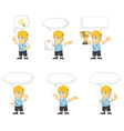 Blonde Rich Boy Customizable Mascot 21 vector image vector image