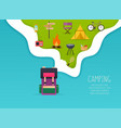 camping and outdoor recreation concept with flat vector image