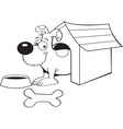 Cartoon dog in a doghouse vector image vector image