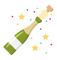 champagne bottle pop flat icon new year vector image vector image