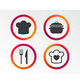 chief hat cooking pan icons fork and knife vector image