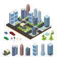 city landscape and part set isometric view vector image vector image
