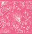 creme ink hand-sketched dried flowers on pink vector image vector image