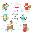 cute animals ice skating isolated vector image