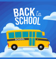 cute cartoon school bus with color cloud space vector image