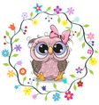 cute owl in a flowers frame vector image vector image