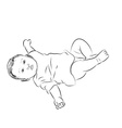 Drawing of baby lying with turning face up vector image vector image