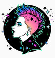face a cute girl in profile with a mohawk vector image