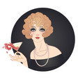 flapper girl holding cocktail glass with splash vector image vector image