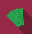 Flat design money icon with long shadow vector image vector image