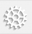 gear sign white icon with soft shadow on vector image vector image
