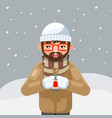 geek hipster winter hot drink tea coffee young man vector image