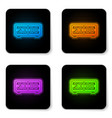glowing neon digital alarm clock icon isolated on vector image vector image