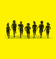 group children running together cartoon graphic vector image vector image