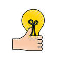 hand holding bulb creativity innovation concept vector image vector image