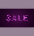 inscription of sale with neon lamps text vector image vector image