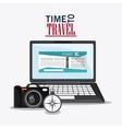 laptop camera compass travel design vector image vector image
