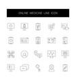 line icons set online medicine pack vector image