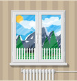nature mountain landscape behind window vector image vector image