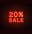 neon 20 sale text banner night sign vector image vector image