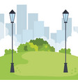 park landscape with lamps scene icon vector image