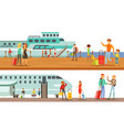 people using public transport set passengers of vector image vector image