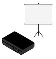 projector and screen isometric view realistic vector image vector image