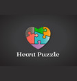 puzzle love heart autism awareness logo design vector image vector image