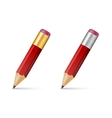 Red wooden sharp pencils vector image vector image
