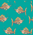 seamless pattern marlin fish vector image vector image