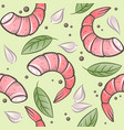 seamless pattern shrimps garlic and spicy herbs vector image