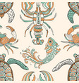 seamless pattern with turtles crabs lobsters and vector image vector image