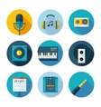 Set of flat music and sound icons vector image
