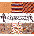 set of patterns of autumn themes vector image